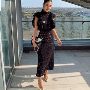 Zara Textured Ruffle Sleeve Dress Black Crochet